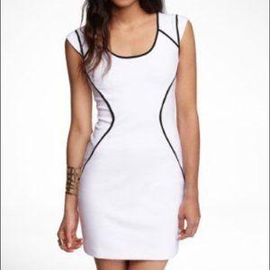 EXPRESS - White bodycon dress W/ black piping